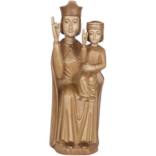 Madonna bimbo stile romanico 28cm legno Valgardena multipatinato 1