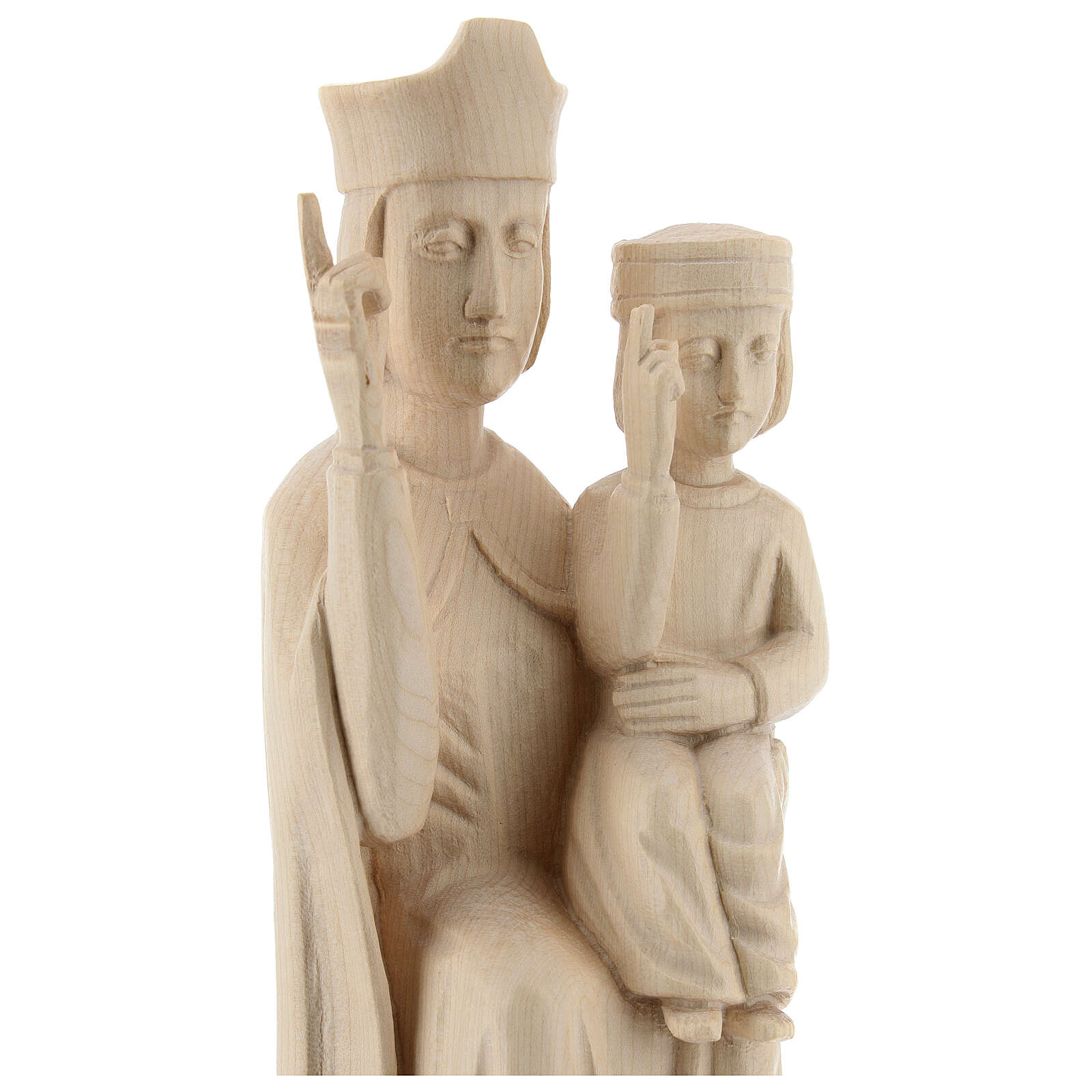 Mary with baby statue in Valgardena wood 28cm romanesque style, 4