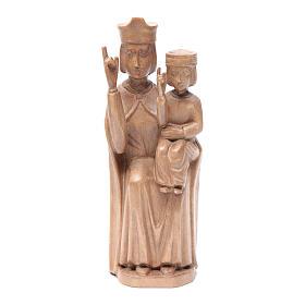 Imágenes de madera natural: Estatua Virgen con niño de estilo románico de madera de la Val Gardena, acabado patinado, 28 cm