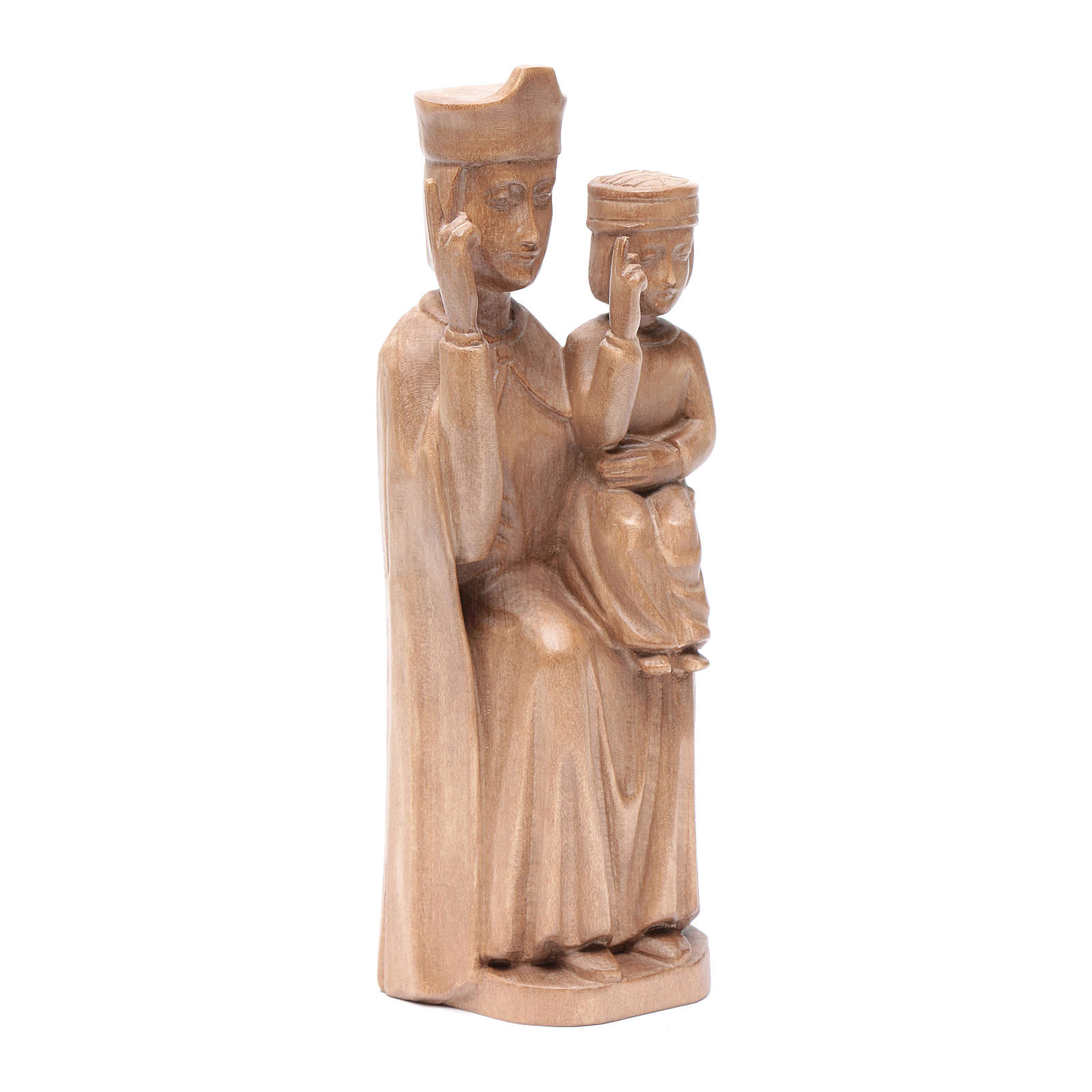 Mary with baby statue in patinated Valgardena wood 28cm romanesq 4