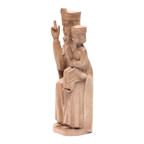 Mary with baby statue in patinated Valgardena wood 28cm romanesq 2