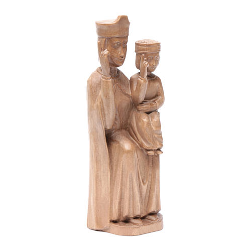 Mary with baby statue in patinated Valgardena wood 28cm romanesq 3