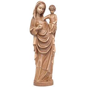 Vierge Marie avec Enfant , Style gothique 25 cm bois patiné multinuance Valgardena s1