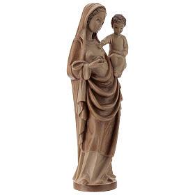 Madonna bimbo stile gotico 25cm legno Valgardena multipatinato s4