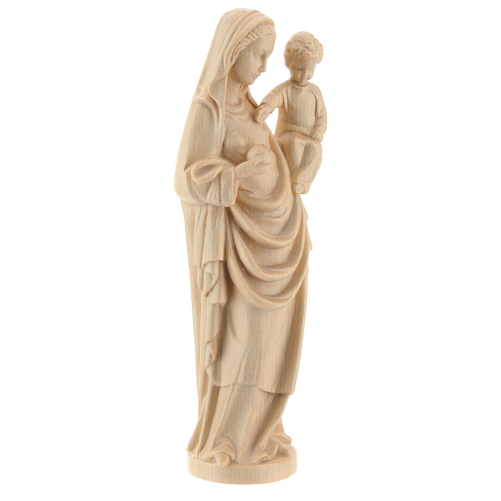 Virgin Mary statue with baby, gothic style 25cm, natural wax Val 4