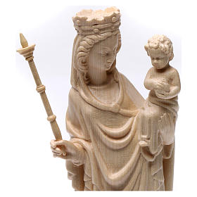 Virgin Mary statue with baby and sceptre, gothic style, natural s3