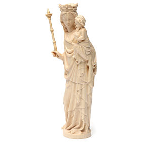 Virgin Mary statue with baby and sceptre, gothic style, natural s4