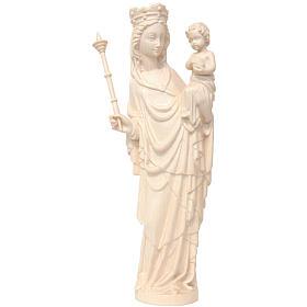 Imágenes de madera natural: Imagen Virgen con niño y cetro de estilo gótico de madera natural, acabado con cera transparente, 25 cm