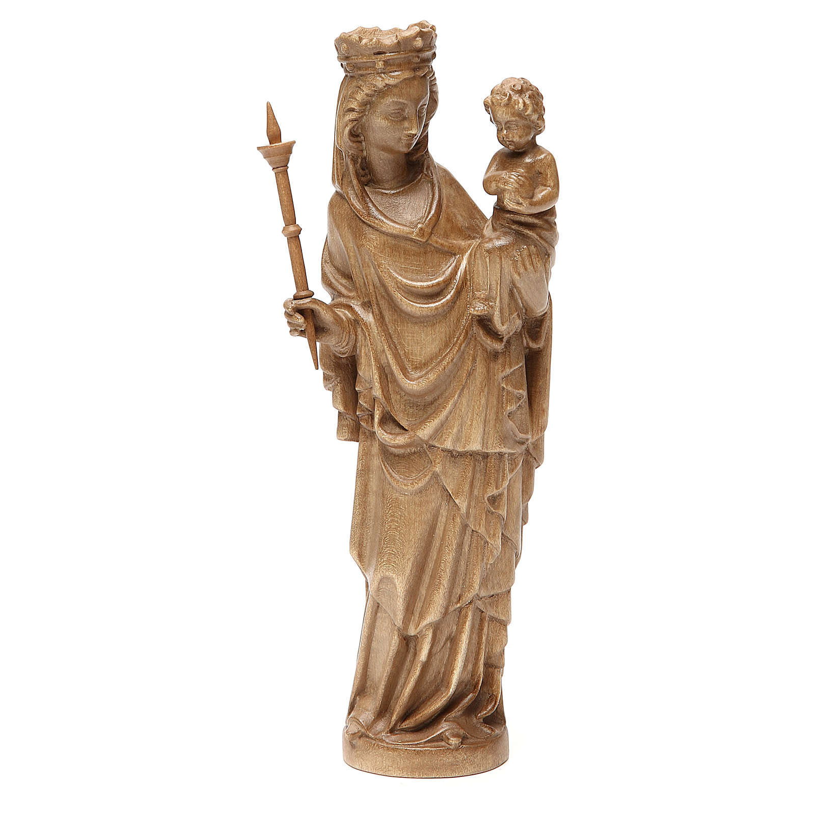 Virgin Mary statue with baby and sceptre in patinated Valgardena 4