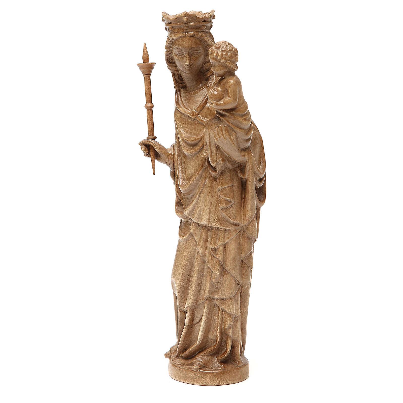Madonna bimbo scettro 25 cm stile gotico legno patinato 4