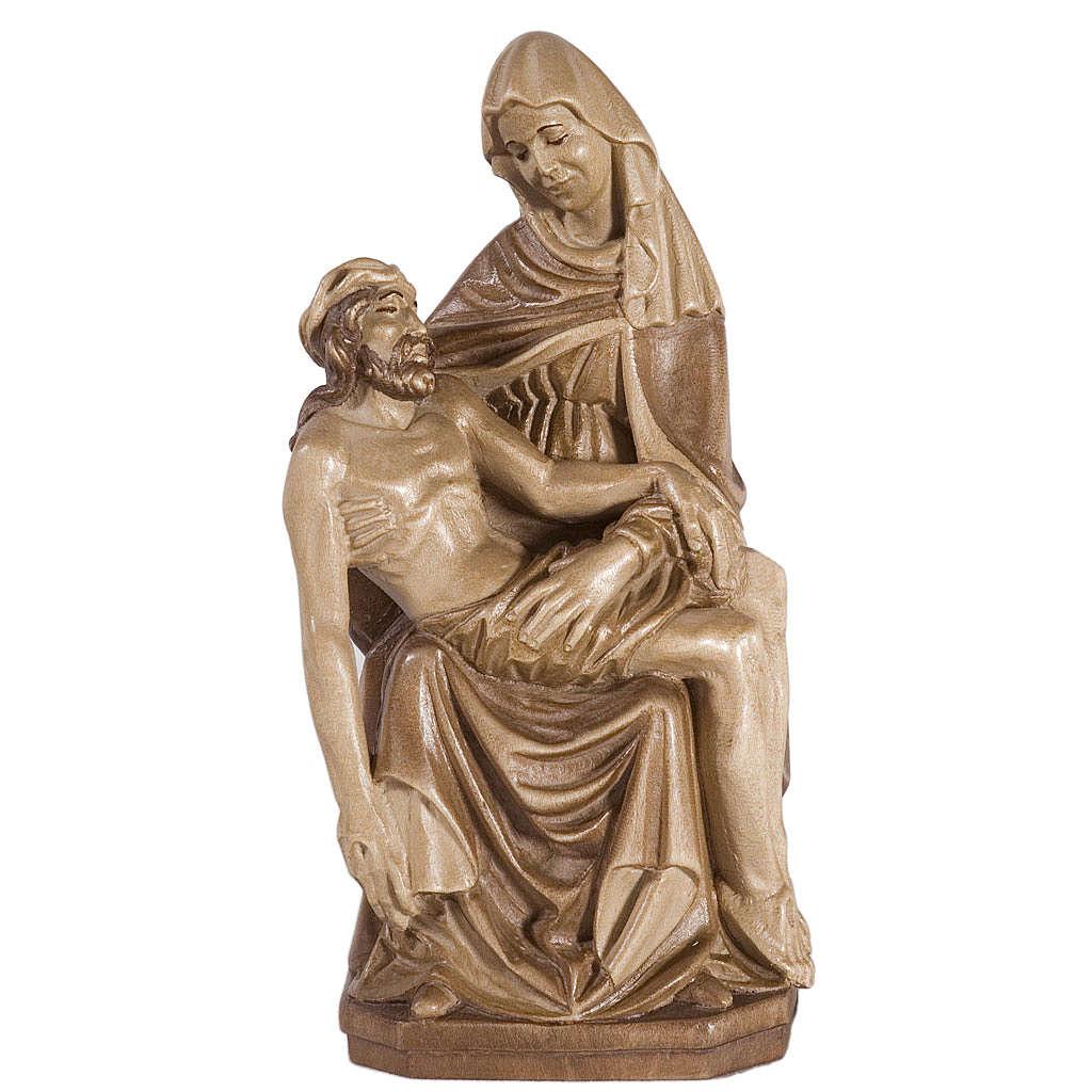 Pietà legno Valgardena multipatinato 4