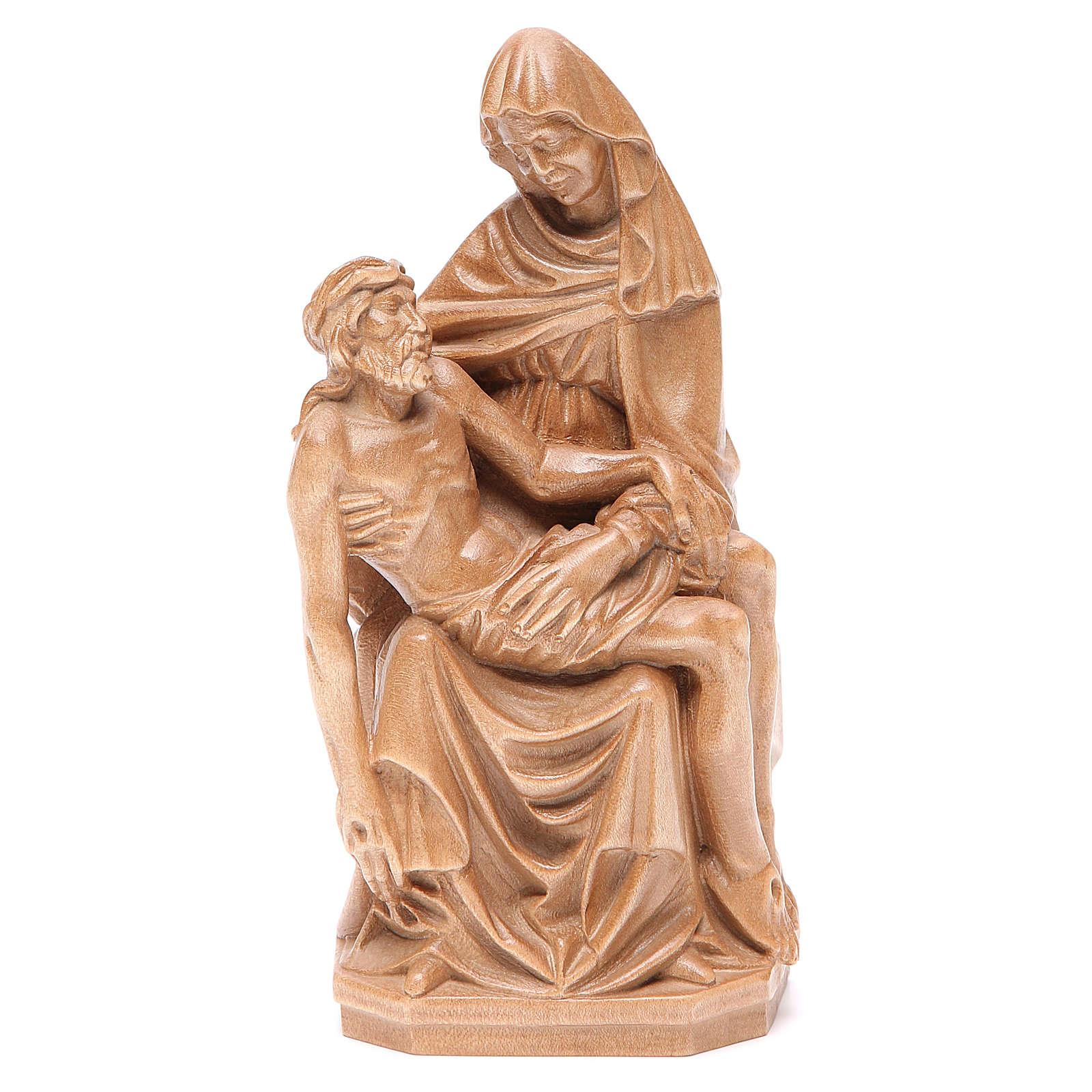 Pietà statue in patinated Valgardena wood 4