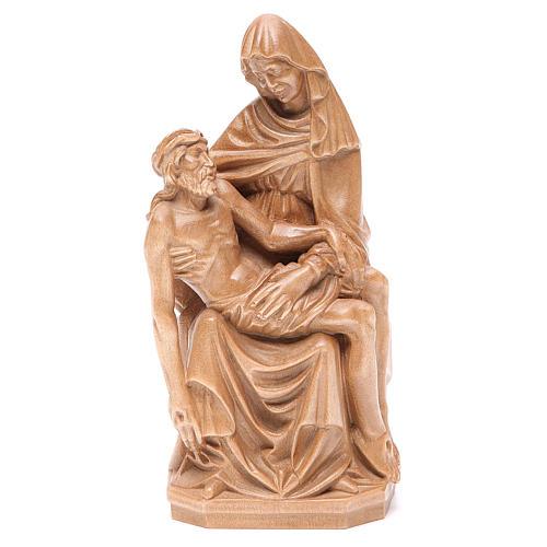 Pietà statue in patinated Valgardena wood 1