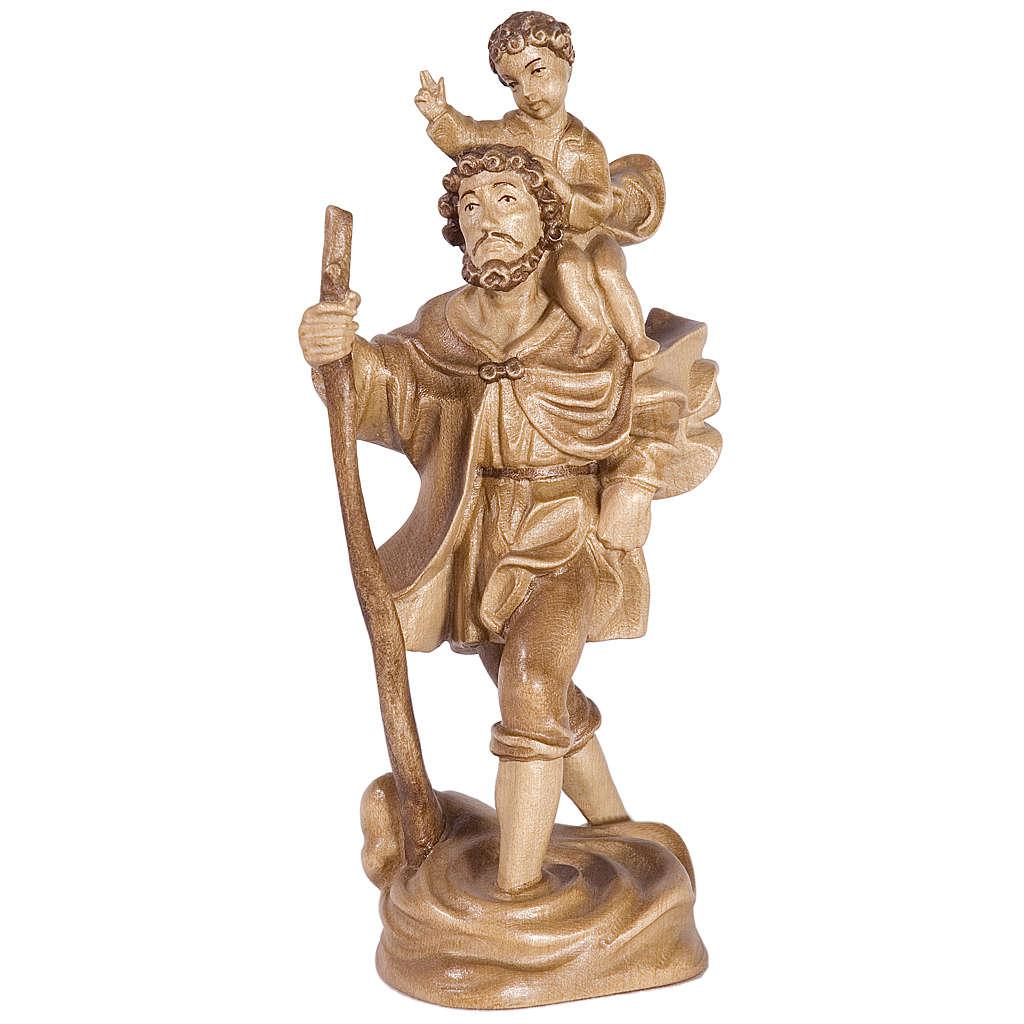 San Cristoforo con bimbo legno Valgardena multipatinato 4