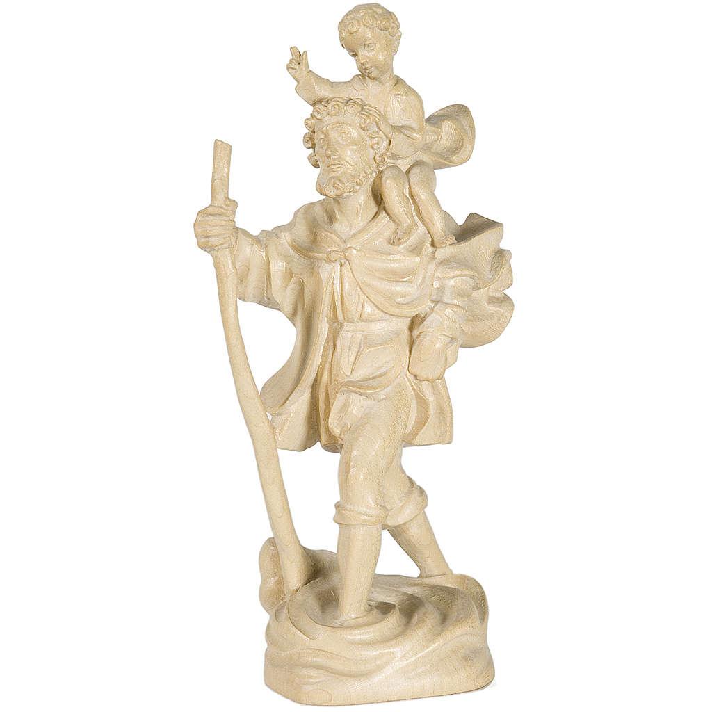 San Cristoforo con bimbo 22 cm legno Valgardena nat. cerato 4
