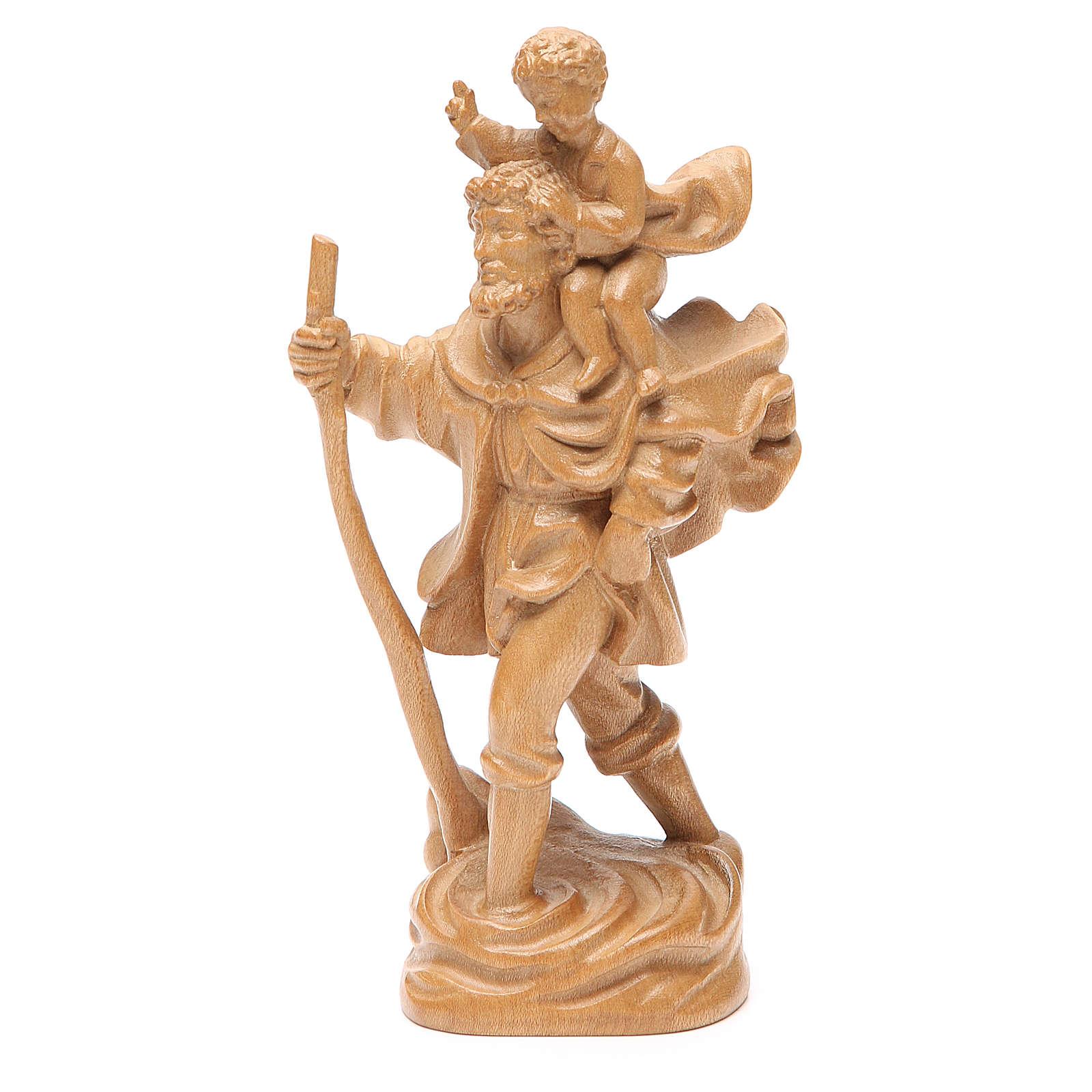 San Cristoforo con bimbo legno Valgardena patinato 4