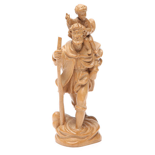San Cristoforo con bimbo legno Valgardena patinato 1