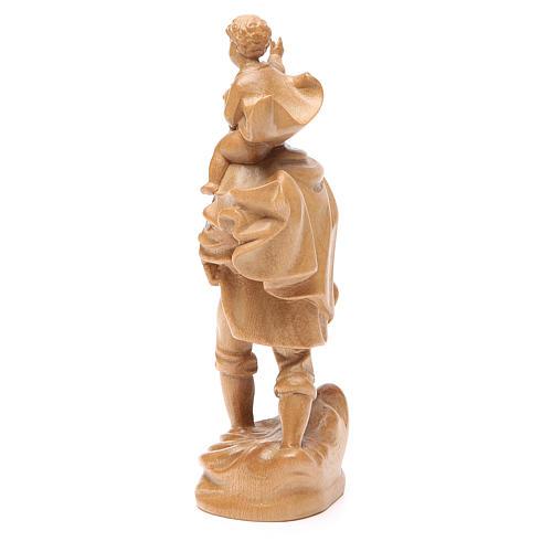 San Cristoforo con bimbo legno Valgardena patinato 3