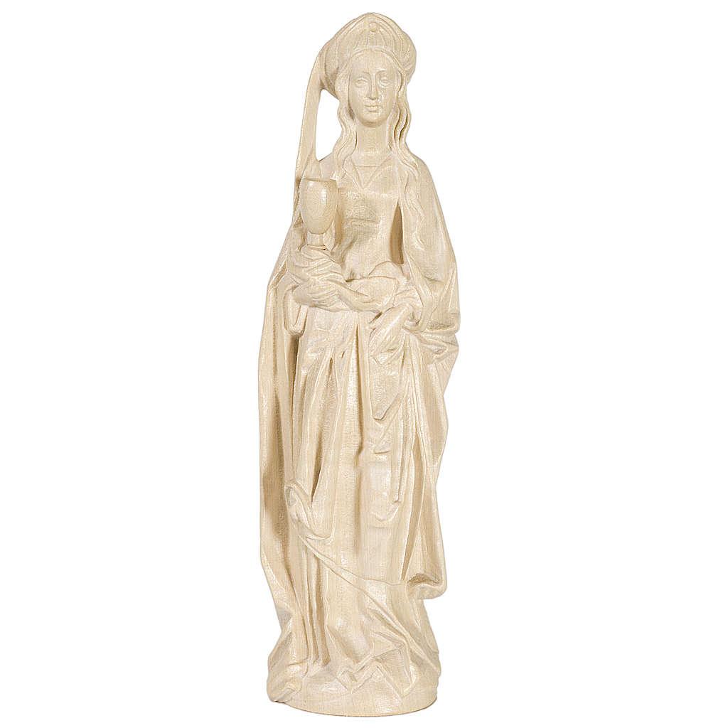 Sainte Barbara avec calice 27 cm bois naturel ciré Valgardena 4