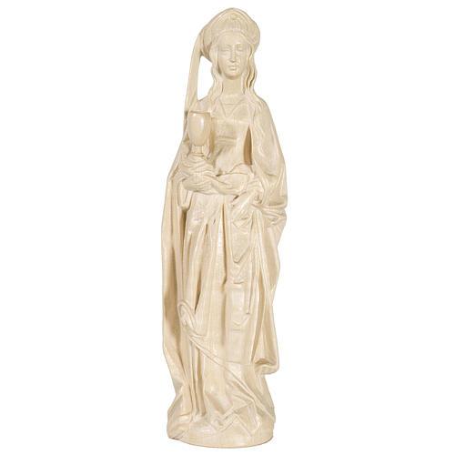 Sainte Barbara avec calice 27 cm bois naturel ciré Valgardena 1