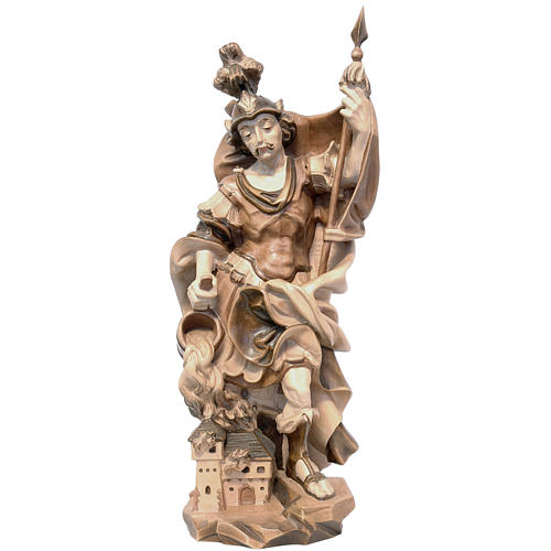 Saint Florian in multi-patinated Valgardena wood, baroque style 1