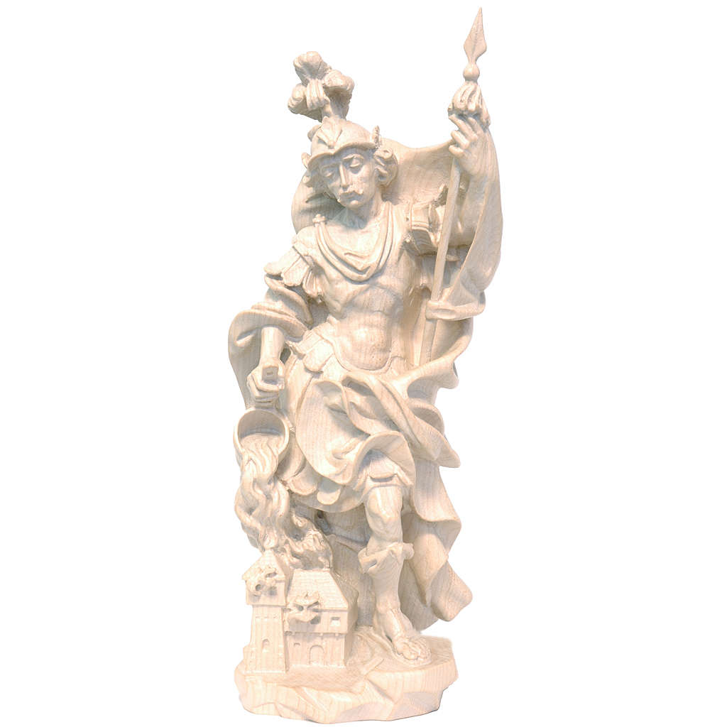 Saint Florian in waxed Valgardena wood, baroque style 4