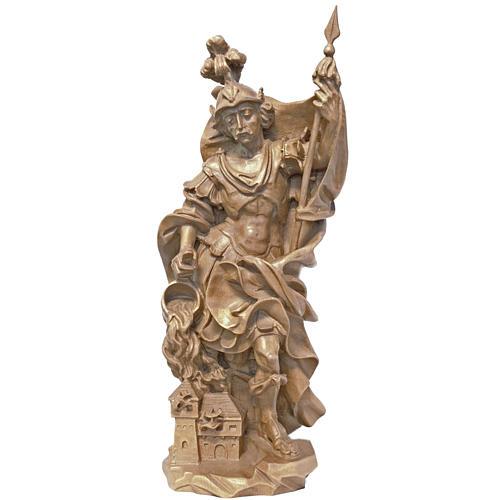 Saint Florian 27cm in patinated Valgardena wood, baroque style 1