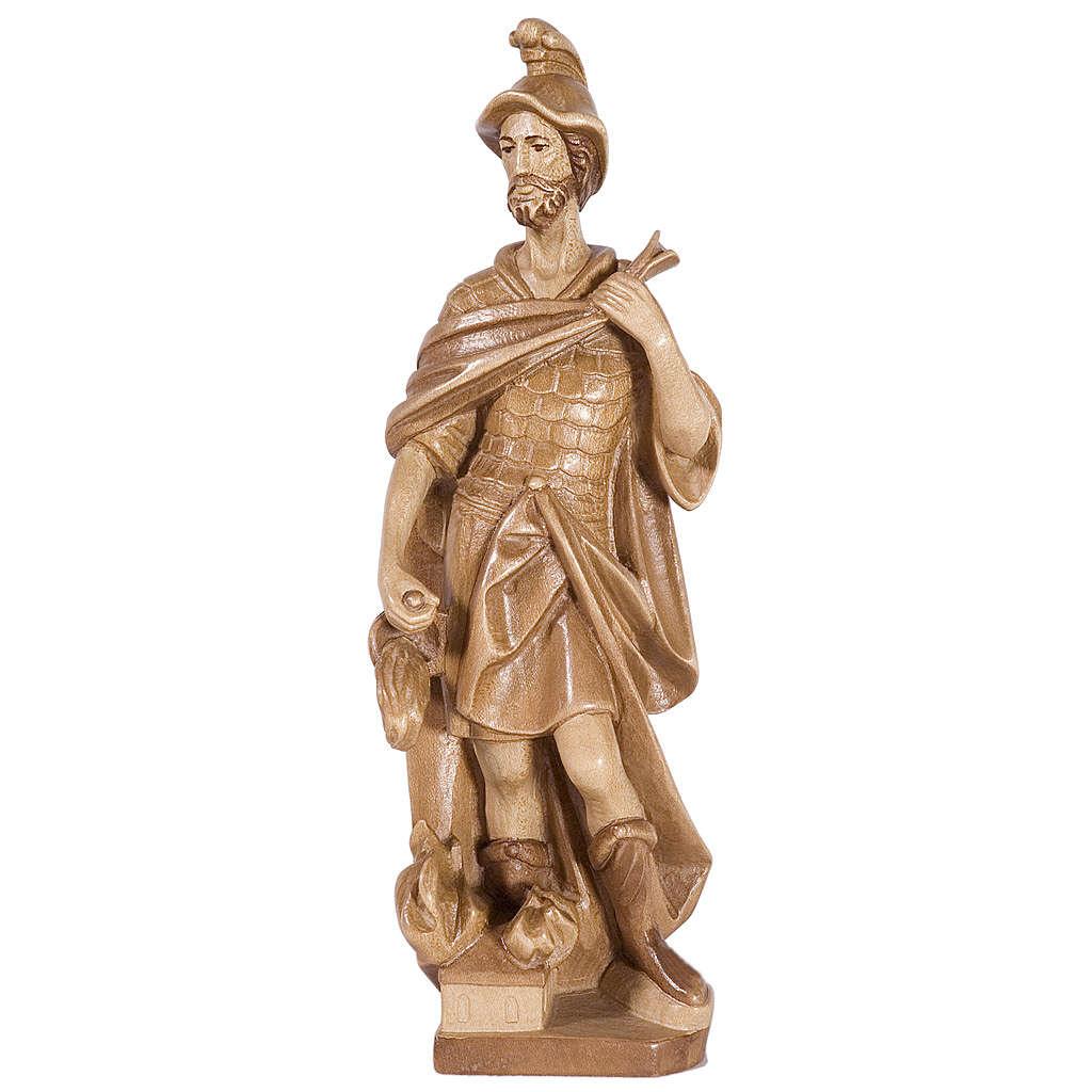 Saint Florian 27 cm bois patiné multinuance Valgardena 4