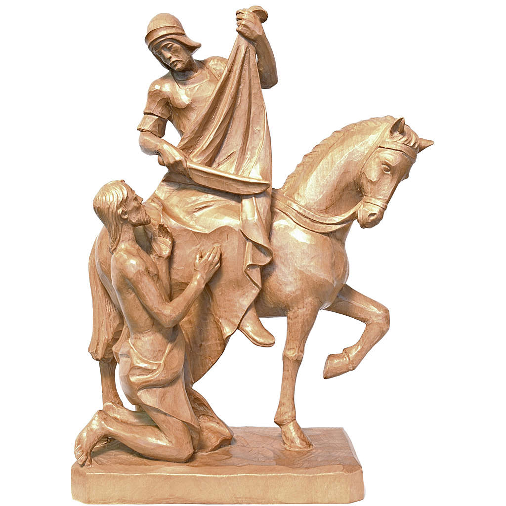 Saint Martin on horse with beggar in patinated Valgardena wood 4