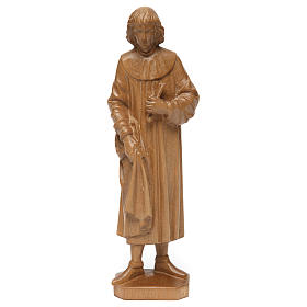 Imágenes de madera natural: Estatua San Cosme de madera patinada de la Val Gardena, 25 cm