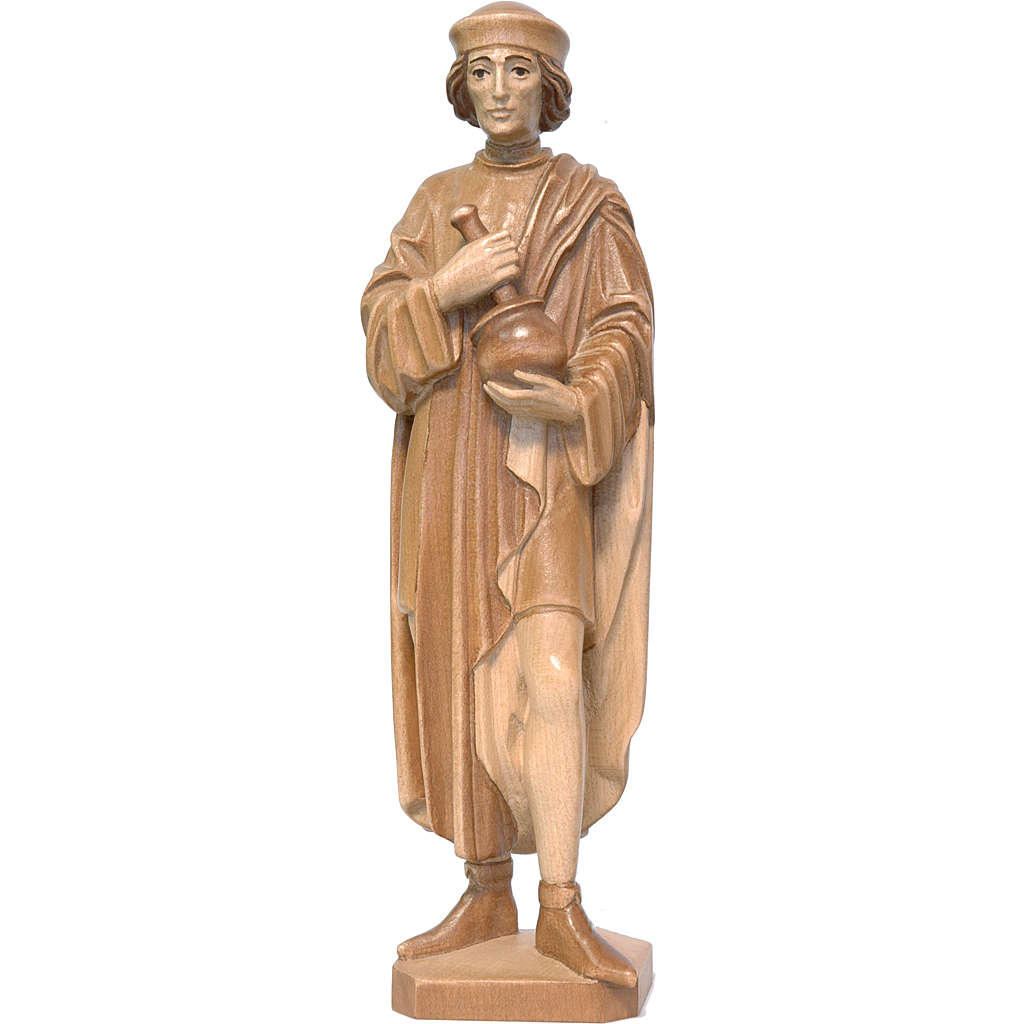 Saint Damien with mortar 25cm in multi-patinated Valgardena wood 4