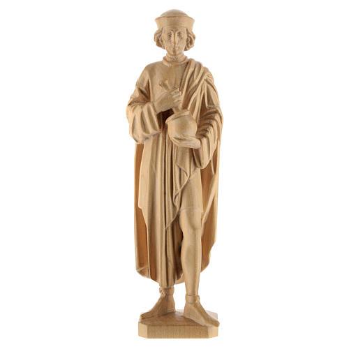 San Damiano con mortaio 25 cm legno Valgardena naturale cerato 1