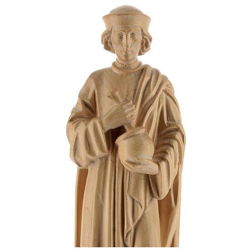 San Damiano con mortaio 25 cm legno Valgardena naturale cerato 2