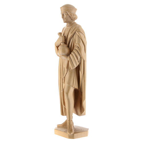 San Damiano con mortaio 25 cm legno Valgardena naturale cerato 3