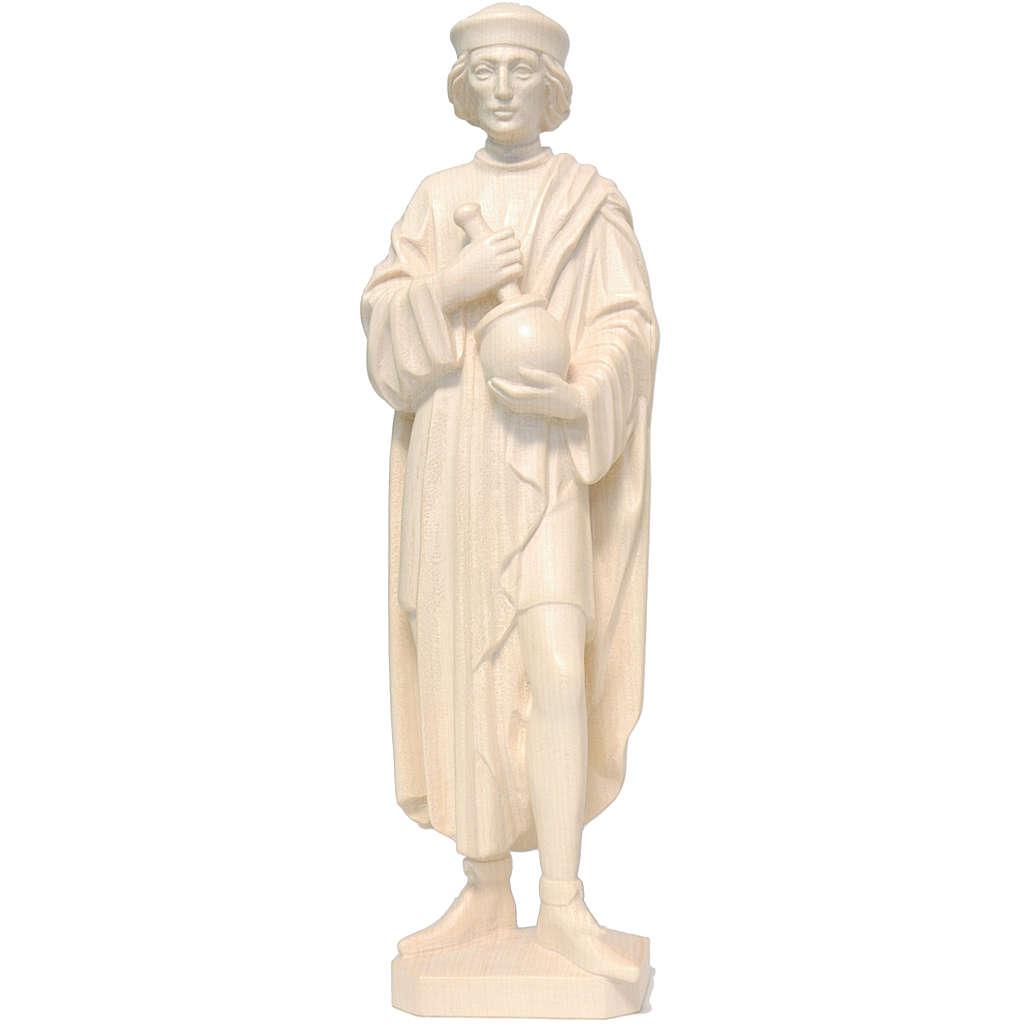 Saint Damien with mortar 25cm in natural wax Valgardena wood 4