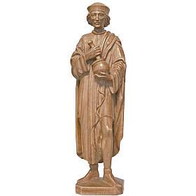 Imágenes de madera natural: Estatua San Damián con mortero de madera patinada de la Val Gardena, 25 cm