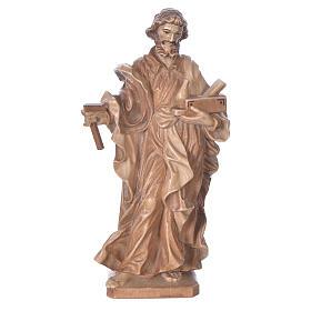 Imágenes de madera natural: San José trabajador de madera multi-patinada de la Val Gardena