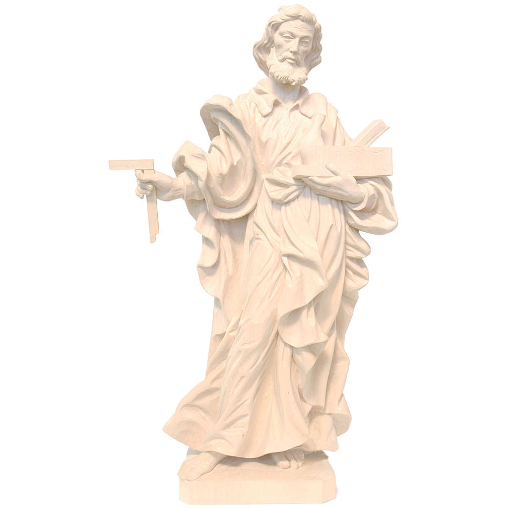 San Giuseppe lavoratore legno Valgardena naturale cerato 4