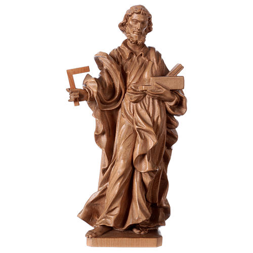 Saint Joseph the worker statue in patinated Valgardena wood 1
