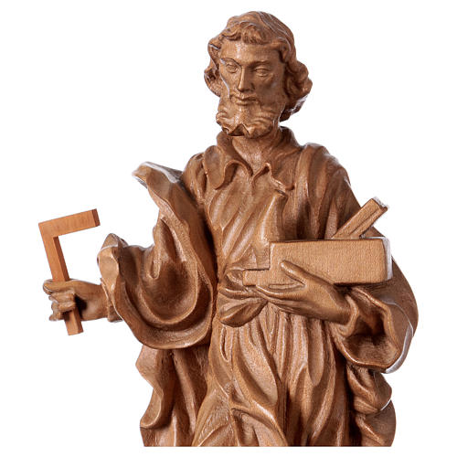 Saint Joseph the worker statue in patinated Valgardena wood 2