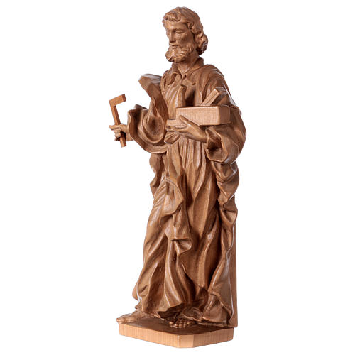 Saint Joseph the worker statue in patinated Valgardena wood 3