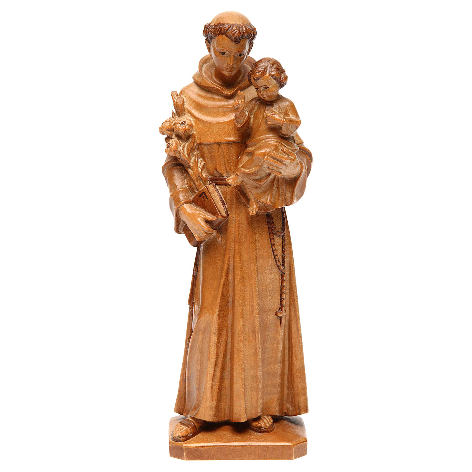 Saint Anthony with baby statue in multi-patinated Valgardena woo 4