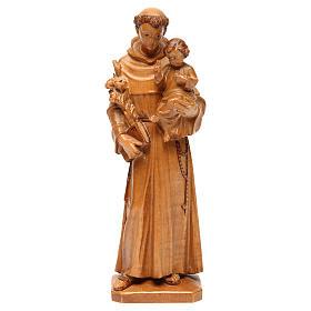 Imágenes de madera natural: San Antonio con niño de madera multi-patinada de la Val Gardena