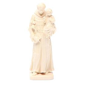 Sant'Antonio con bimbo legno Valgardena naturale cerato s1