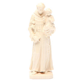 Saint Anthony with baby statue in natural wax Valgardena wood s1