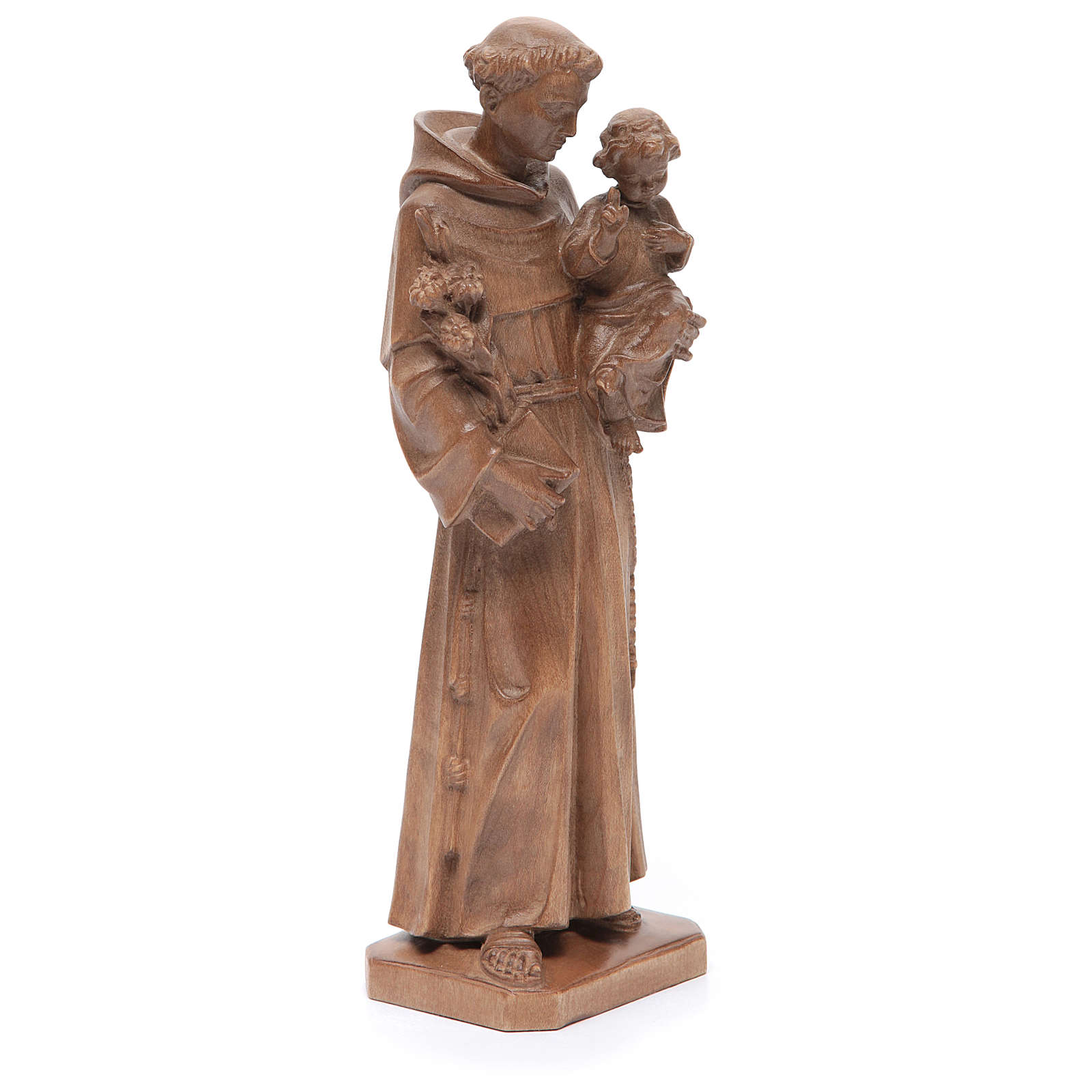 Saint Anthony with baby statue in patinated Valgardena wood 4