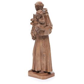 Saint Anthony with baby statue in patinated Valgardena wood s2