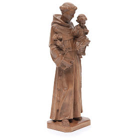 Saint Anthony with baby statue in patinated Valgardena wood s4