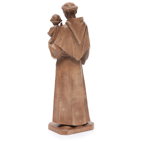 Saint Anthony with baby statue in patinated Valgardena wood 3
