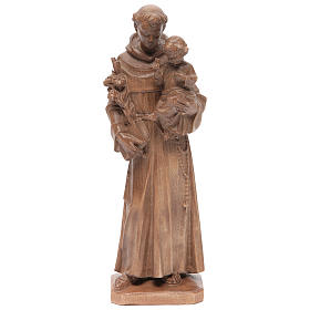 Imágenes de madera natural: Estatua San Antonio con niño de madera patinada de la Val Gardena